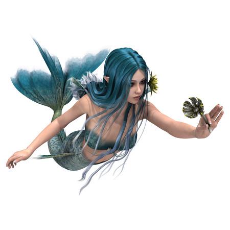 3D 디지털 흰색 배경에 고립 된 바다의 백합 꽃을 들고 아름다운 푸른 marmaid 렌더링