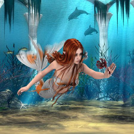 3D digital render of a cute mermaid holding a sea lily on blue fantasy ocean