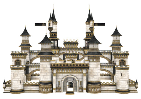 3D digital render of a fairy tale castle isolated on white background Imagens