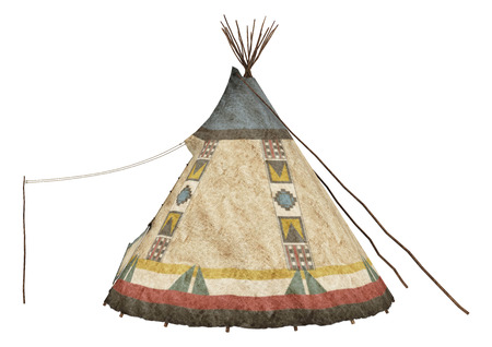 3D digital render of a native American teepee isolated on white background