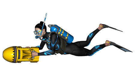 3D digital render of a female diver with a scooter isolated on white background