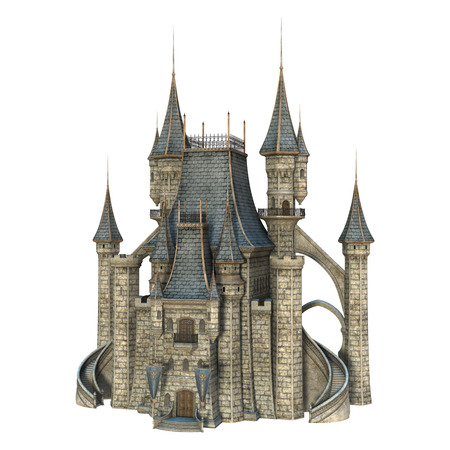 3D digital render of a fairy tale castle isolated on white background 版權商用圖片