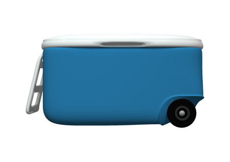 3D digital render of a blue cooler isolated on white background