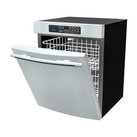 3D digital render of a dishwasher isolated on white background photo