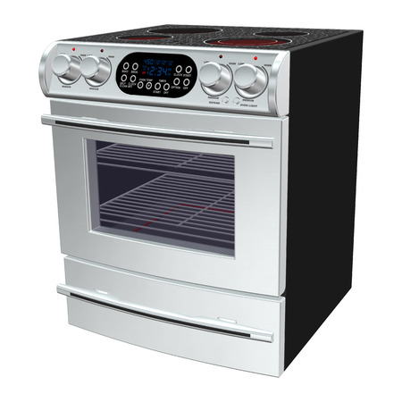 3D digital render of an oven isolated on white background photo
