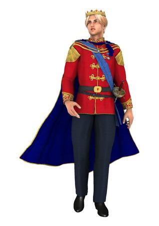 Digital 3D render de un hermoso príncipe de cuento de hadas sobre fondo blanco Foto de archivo - 29460810