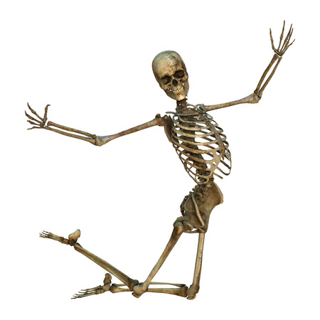 3D digital render of an old flying human skeleton isolated on white background