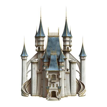 3D digitaal maken van een sprookjeskasteel op een witte achtergrond