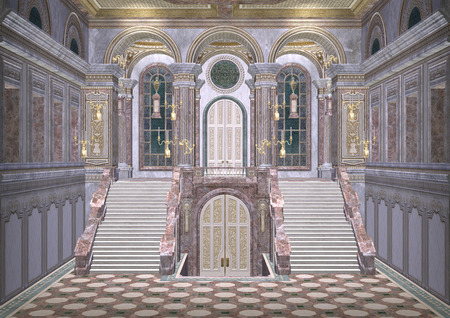 3D digital render of a beautiful royal fairy tale palace entrance Stock Photo