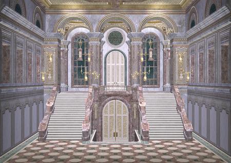 3D digital render of a beautiful royal fairy tale palace entrance Standard-Bild