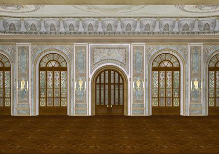 3D 디지털 궁전에서 아름다운 복고풍 볼룸 렌더링