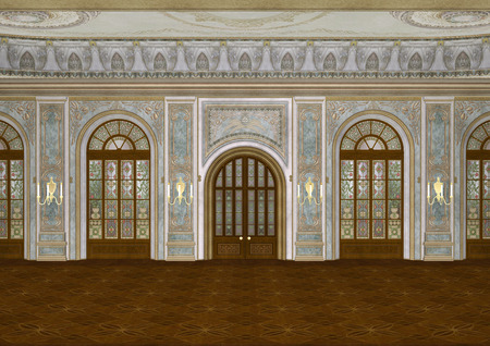 3D digital render of a beautiful retro ballroom in a palace Stock Photo