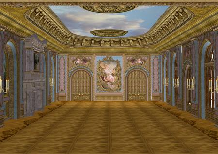 3D digital render of a beautiful retro ballroom in a palace Zdjęcie Seryjne