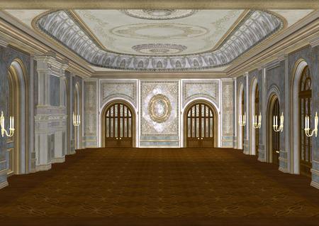 3D digital render of a beautiful retro ballroom in a palace Standard-Bild