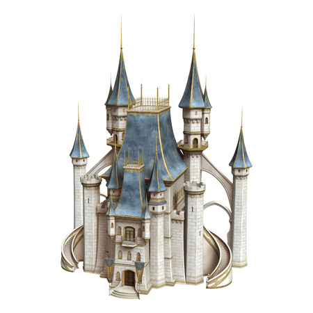 3D digital render of a fairytale castle isolated on white background Imagens