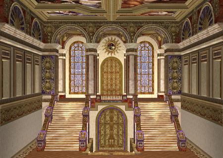 デジタル 3 D レンダリング美しいロイヤルおとぎ話の宮殿の入口の 写真素材