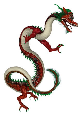3D digital render of a red fantasy eastern dragon isolated on white background
