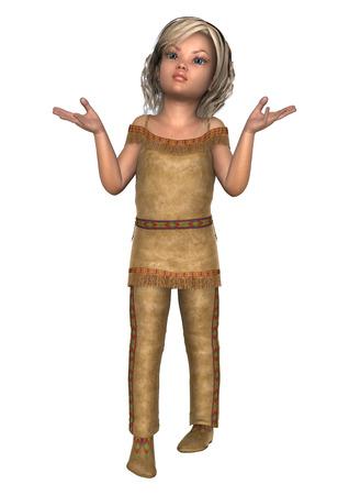 Digital 3D render de una niña linda en un traje de indiana aislado en fondo  blanco 3d412674fbe