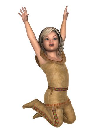 Digital 3D render de una niña sonriente linda en un traje de indiana aislado  en fondo a01ab1e924d