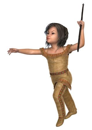 30833520 - Digital en 3D render de una niña linda en un traje de indiana  sosteniendo una lanza aislado en fondo blanco c2bb58aa1d5