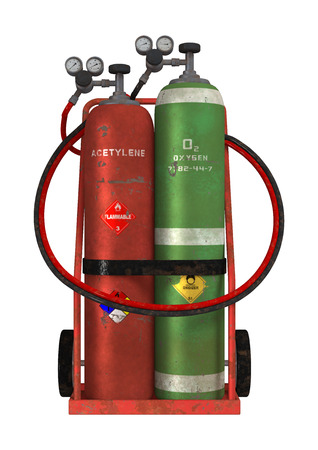 3D digital render of a welding cart with acetylene and oxygen isolated on white background