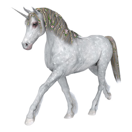 3D digital render of a beautiful white fantasy unicorn isolated on white background