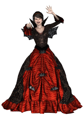 3D digital render of a beautiful fantasy lady vamp in a red and black dress with wings isolated on white background