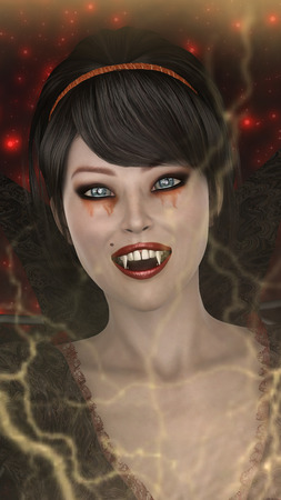 3D digital render of a beautiful fantasy lady vamp on a red sparkling background