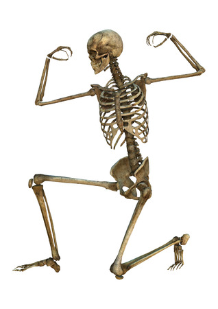 3D digitaal maken van een uitoefening van oude menselijk skelet op een witte achtergrond