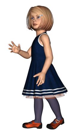 32883147 - Digital 3D render de una niña en un vestido azul marino aislado  en fondo blanco efe8068283a