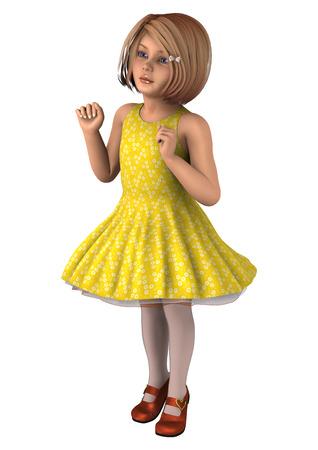 Digital 3D render de una niña linda en un vestido amarillo aislado en el fondo  blanco a1c8df65405