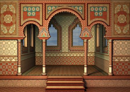 Digitale 3D rendering di un palazzo orientale fiaba, cielo blu nelle finestre Archivio Fotografico