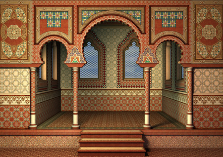 3D digital render of a fairytale oriental palace, blue sky in the windows