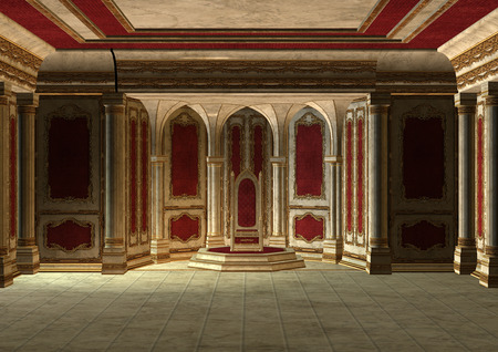 3D digital render of a beautiful fairytale throne room in red and gold
