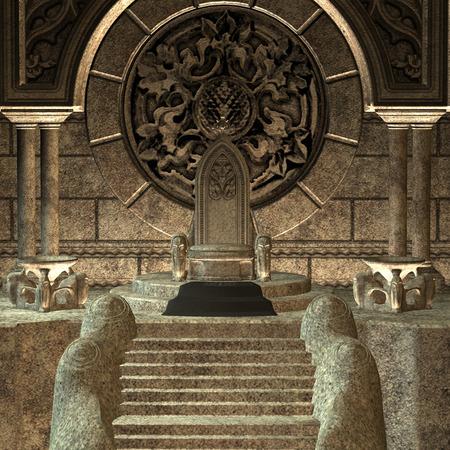 Digitale 3D rendering di un trono favola isolato su sfondo bianco
