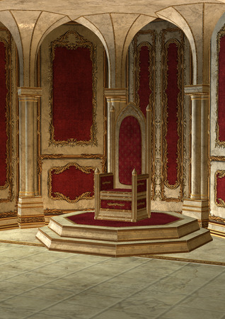 3D 디지털 빨간색과 금색의 아름다운 동화 왕위 룸의 렌더링