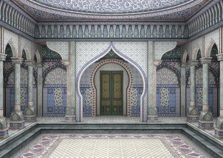 3D digital render of a fairytale oriental palace 스톡 콘텐츠