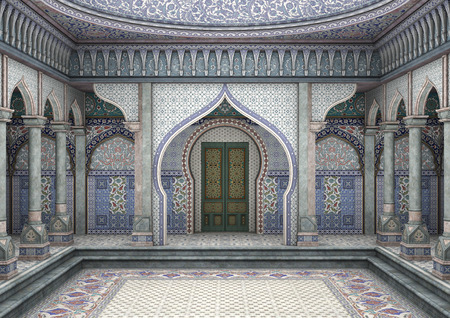3D digital render of a fairytale oriental palace Stok Fotoğraf