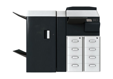 3D digital render of an office printer isolated on white background