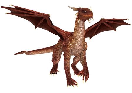 3D digital hacen de un cuento de hadas dragón rojo sobre fondo blanco Foto de archivo - 34107163