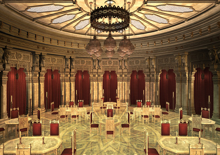 3D digital render of a fairytale oriental palace in the evening