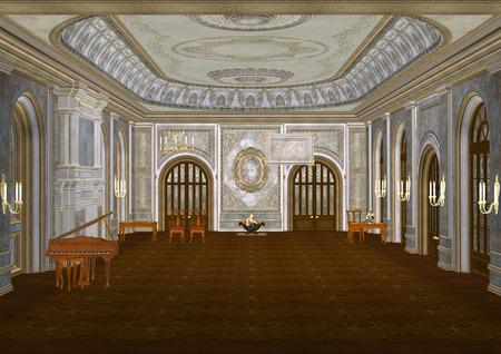 3D illustratie van een mooi sprookje balzaal met een piano, een open haard, kaarsen, tafels en stoelen
