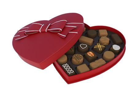 흰색 배경에 고립 된 발렌타인 데이 심장 모양의 사탕 상자 3D 디지털 렌더링