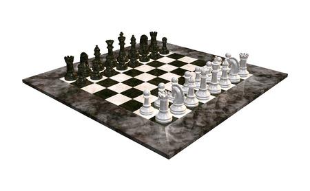 白い背景に分離された大理石チェス盤のデジタル 3 D レンダリングします。 写真素材
