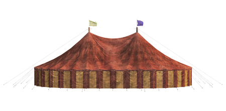 3D digital render of a carnival big tent isolated on white background