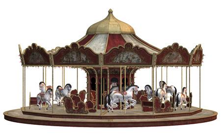 3D digitaal maken van een vintage carnaval carrousel op een witte achtergrond Stockfoto
