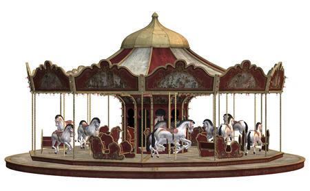3D digital render of a vintage carnival carousel isolated on white background