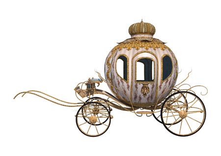 3D digital render of a fairytale Cinderellas carriage isolated on white background Imagens