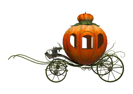 3D digital render of a fairytale Cinderella's pumpkin carriage isolated on white background