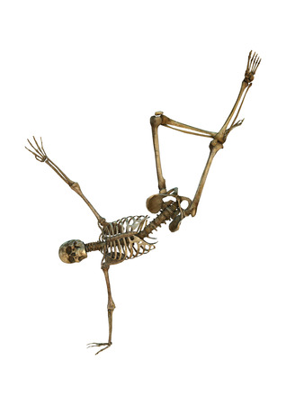 3D digital render of a human dancing skeleton isolated on white background